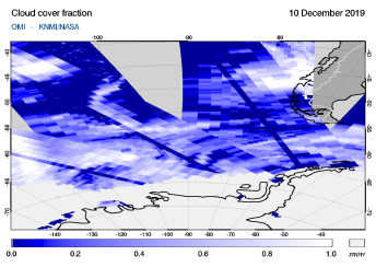OMI - Cloud cover fraction of 10 December 2019