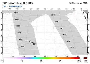 OMI - SO2 vertical column of 10 December 2019