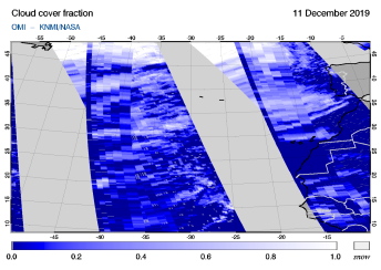 OMI - Cloud cover fraction of 11 December 2019