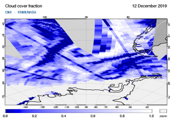 OMI - Cloud cover fraction of 12 December 2019