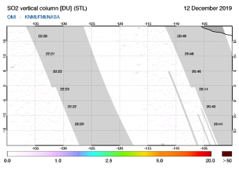 OMI - SO2 vertical column of 12 December 2019