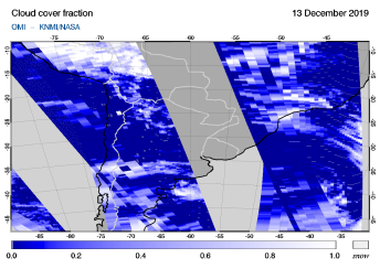 OMI - Cloud cover fraction of 13 December 2019