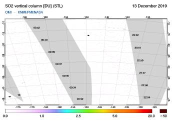 OMI - SO2 vertical column of 13 December 2019