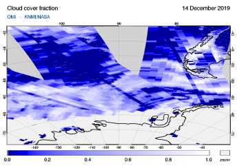 OMI - Cloud cover fraction of 14 December 2019