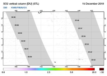 OMI - SO2 vertical column of 15 December 2019