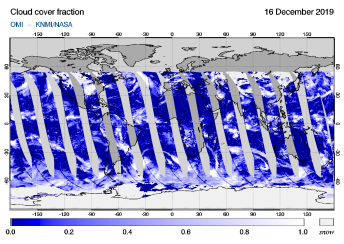 OMI - Cloud cover fraction of 16 December 2019
