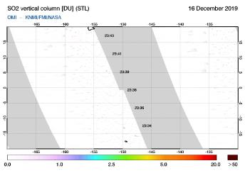 OMI - SO2 vertical column of 16 December 2019