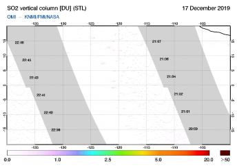 OMI - SO2 vertical column of 17 December 2019