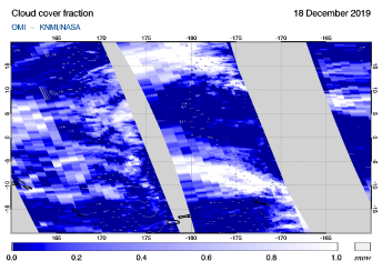 OMI - Cloud cover fraction of 18 December 2019