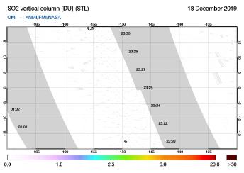 OMI - SO2 vertical column of 18 December 2019