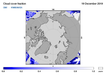 OMI - Cloud cover fraction of 19 December 2019