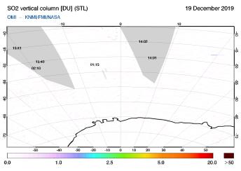 OMI - SO2 vertical column of 19 December 2019
