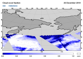 OMI - Cloud cover fraction of 20 December 2019