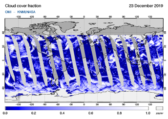 OMI - Cloud cover fraction of 23 December 2019