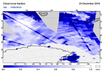 OMI - Cloud cover fraction of 24 December 2019