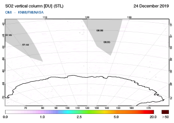 OMI - SO2 vertical column of 24 December 2019