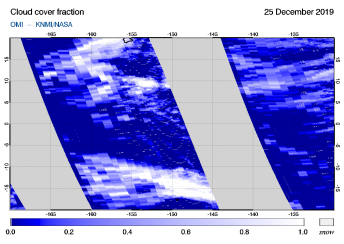 OMI - Cloud cover fraction of 25 December 2019