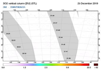 OMI - SO2 vertical column of 25 December 2019