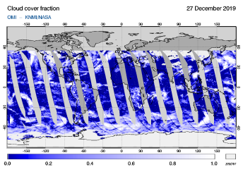 OMI - Cloud cover fraction of 27 December 2019