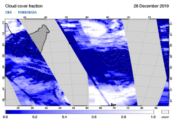 OMI - Cloud cover fraction of 28 December 2019
