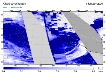 OMI - Cloud cover fraction of 01 January 2020