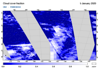 OMI - Cloud cover fraction of 05 January 2020