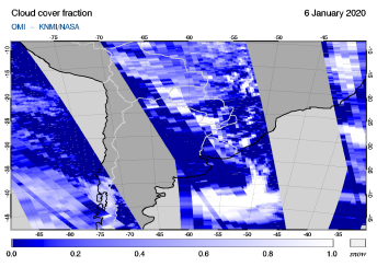 OMI - Cloud cover fraction of 06 January 2020