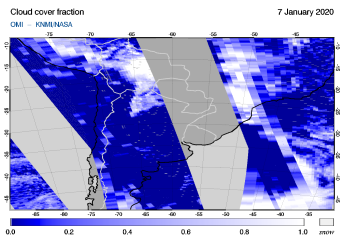 OMI - Cloud cover fraction of 07 January 2020