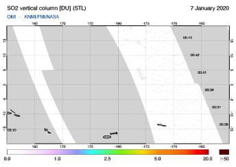OMI - SO2 vertical column of 07 January 2020
