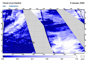 OMI - Cloud cover fraction of 08 January 2020