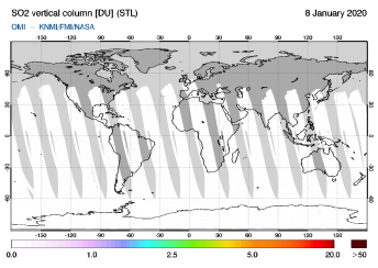 OMI - SO2 vertical column of 08 January 2020