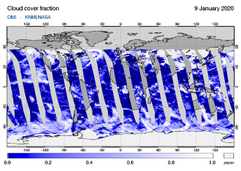 OMI - Cloud cover fraction of 09 January 2020