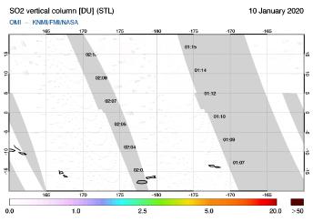OMI - SO2 vertical column of 10 January 2020