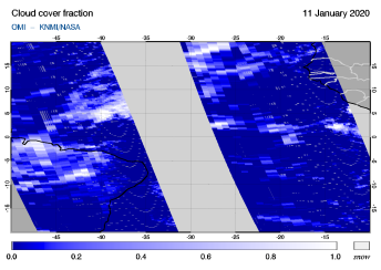 OMI - Cloud cover fraction of 11 January 2020