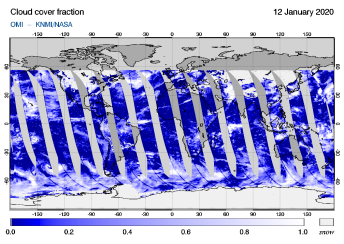 OMI - Cloud cover fraction of 12 January 2020