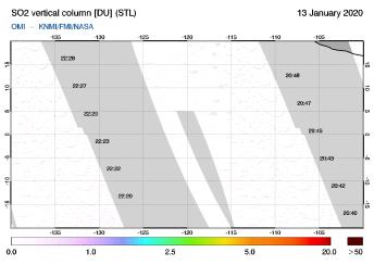 OMI - SO2 vertical column of 13 January 2020