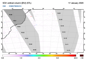 OMI - SO2 vertical column of 17 January 2020