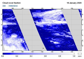 OMI - Cloud cover fraction of 18 January 2020