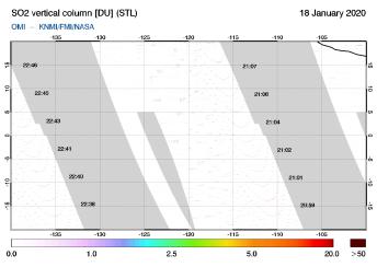 OMI - SO2 vertical column of 18 January 2020