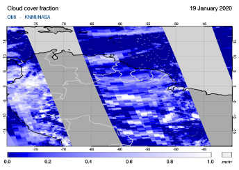 OMI - Cloud cover fraction of 19 January 2020