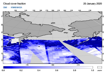 OMI - Cloud cover fraction of 20 January 2020