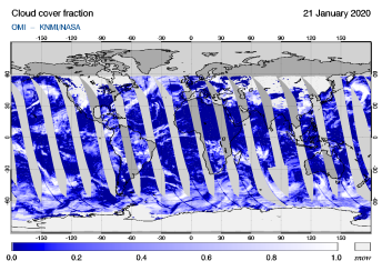 OMI - Cloud cover fraction of 21 January 2020
