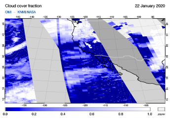 OMI - Cloud cover fraction of 22 January 2020