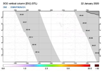 OMI - SO2 vertical column of 22 January 2020