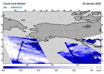 OMI - Cloud cover fraction of 23 January 2020