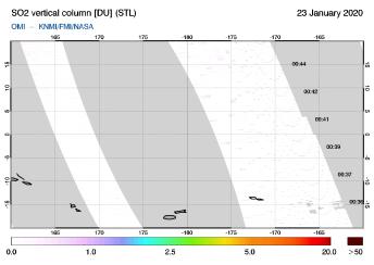 OMI - SO2 vertical column of 23 January 2020
