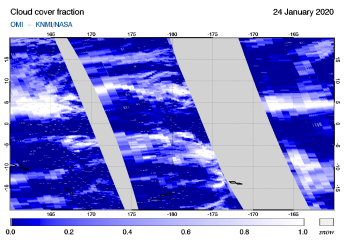 OMI - Cloud cover fraction of 24 January 2020