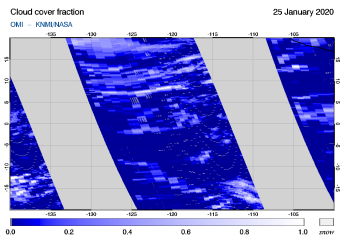OMI - Cloud cover fraction of 25 January 2020