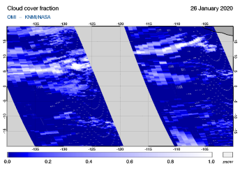 OMI - Cloud cover fraction of 26 January 2020