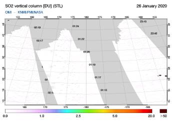 OMI - SO2 vertical column of 26 January 2020